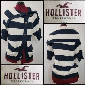 HOLLISTER WOMAN STRIPE BUTTON FRONT SWEATER